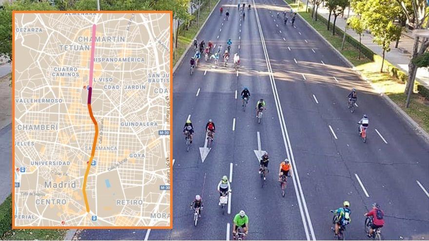 El carril bici Castellana arrancará desde Plaza Castilla y empezará a construirse a finales de este año