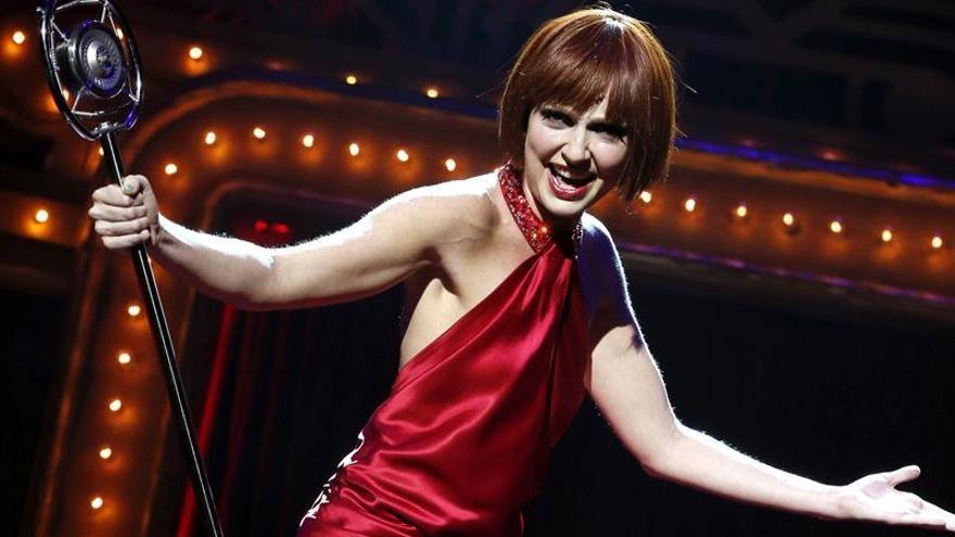 """La actriz Cristina Castaño, durante el pase gráfico del espectáculo """"Cabaret""""."""