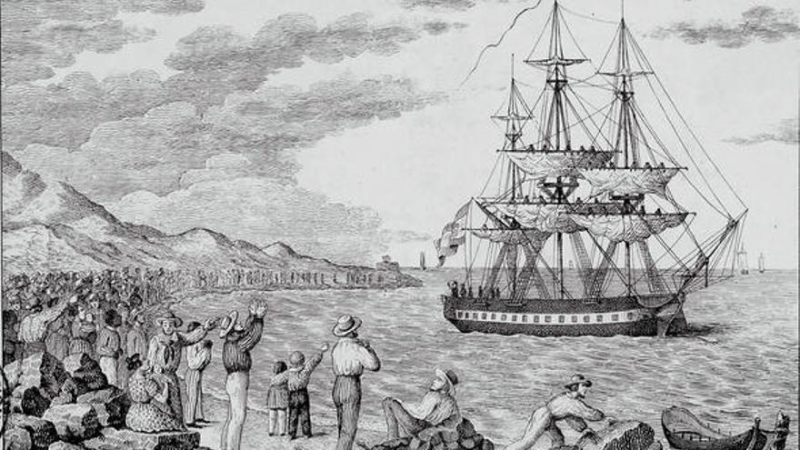 El María Pita partiendo del puerto de A Coruña en 1803 (grabado de Francisco Pérez).