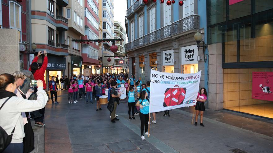 Acto reivindicativo de la JOC en Triana, Las Palmas de Gran Canaria.
