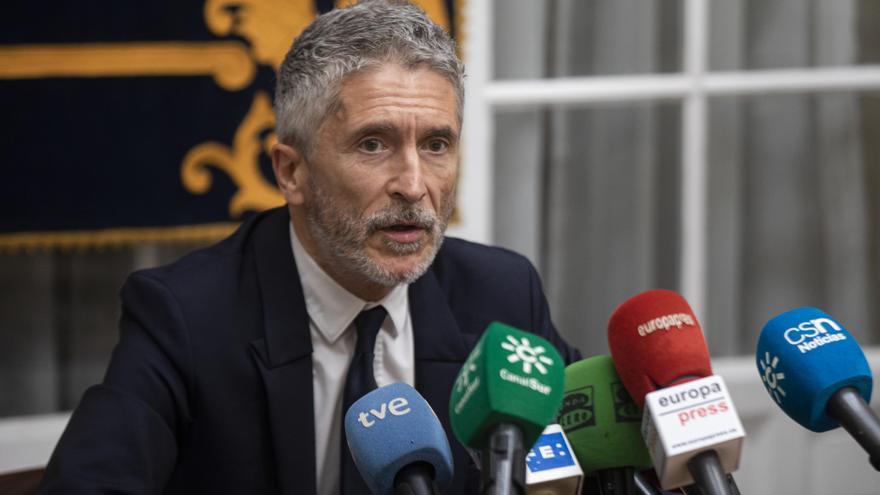 El ministro del Interior, Fernando Grande-Marlaska, atiende a los medios tras presidir una reunión de coordinación para el dispositivo de seguridad de la Eurocopa en Sevilla