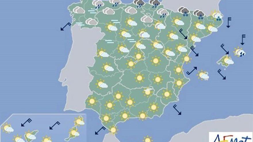 Hoy soplará viento fuerte del norte y lloverá en el noreste y Baleares
