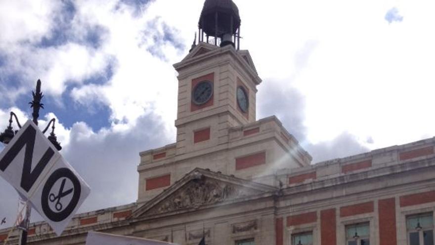 La cabecera de la manifestación de estudiantes en la Puerta del Sol.