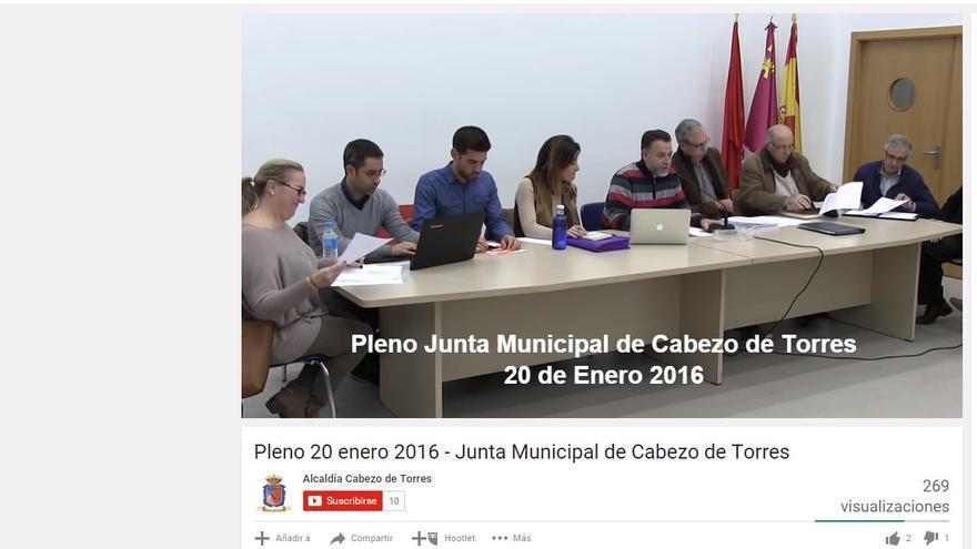 Pleno de la Junta Municipal de Cabezo de Torres en directo por Internet