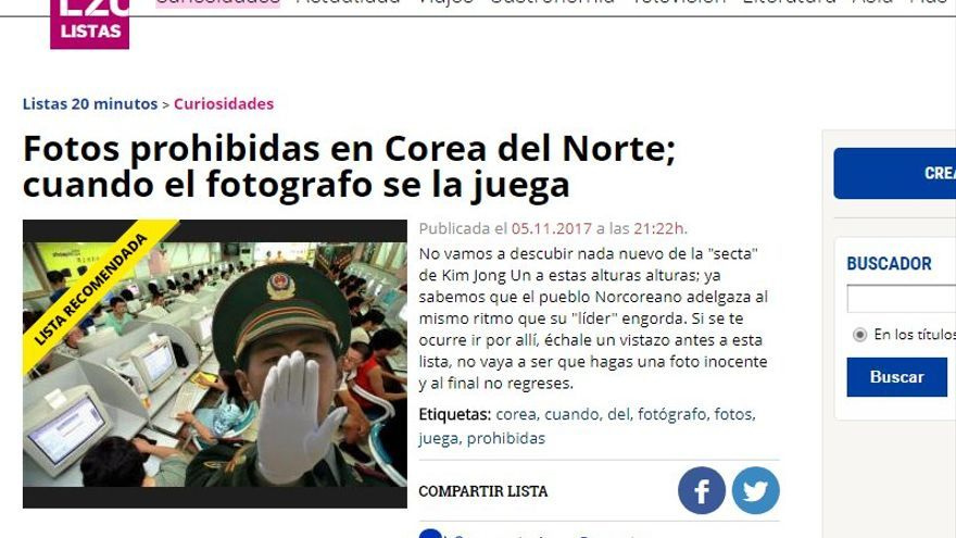 Captura de la noticia de el diario 20 minutos.