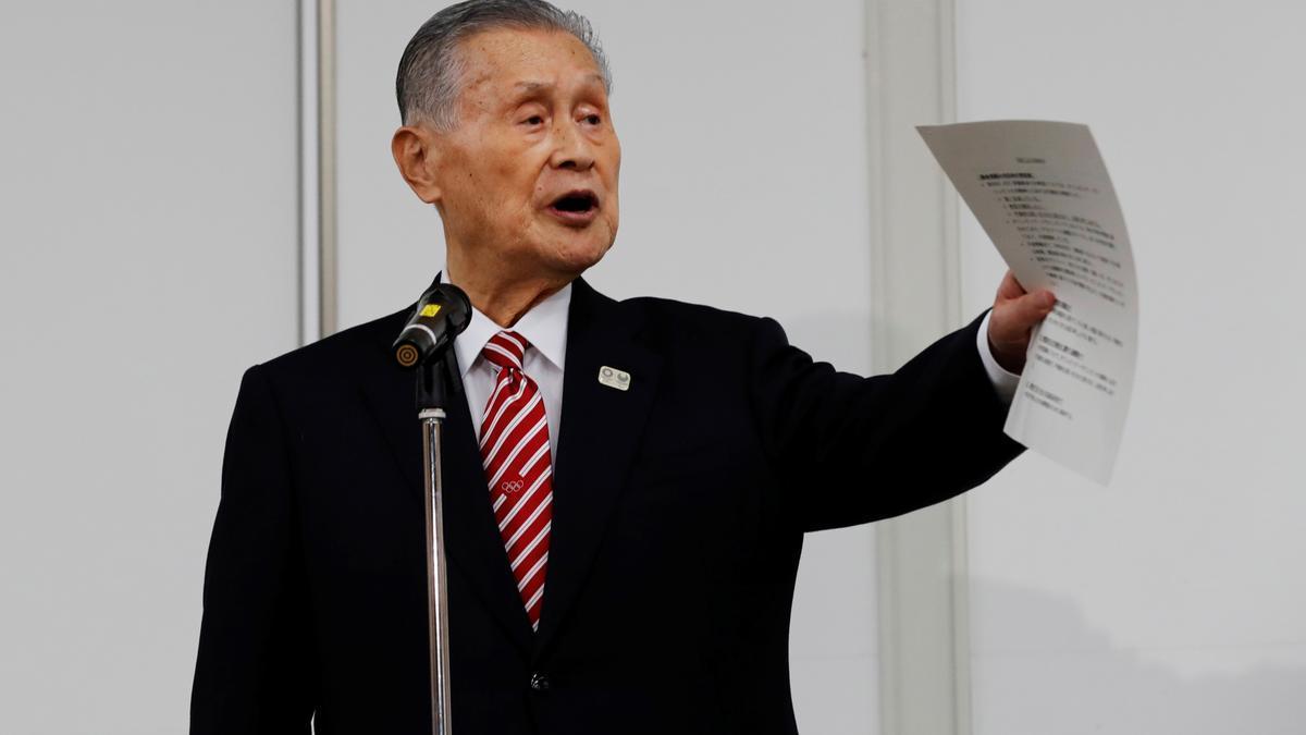 Yoshiro Mori, presidente del Comité Olímpico de Japón, durante una rueda de prensa