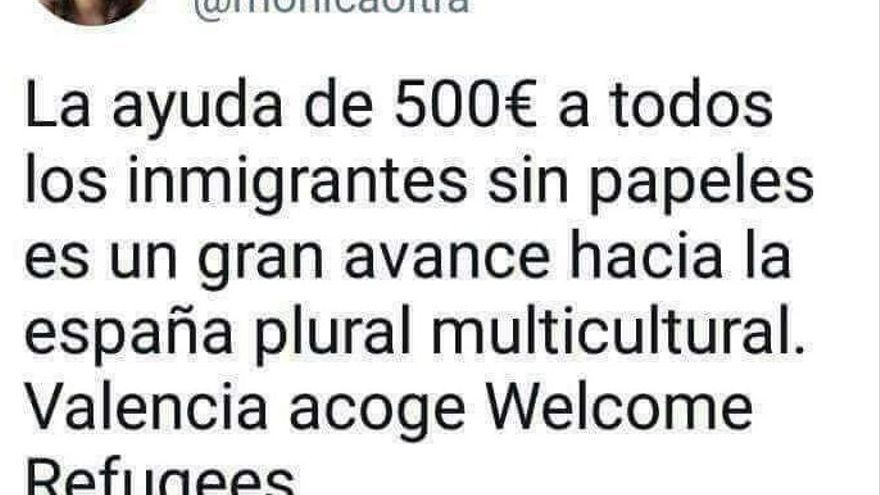 Tweet falso que fue utilizado por la extrema derecha para atacar las políticas del Gobierno valenciano.