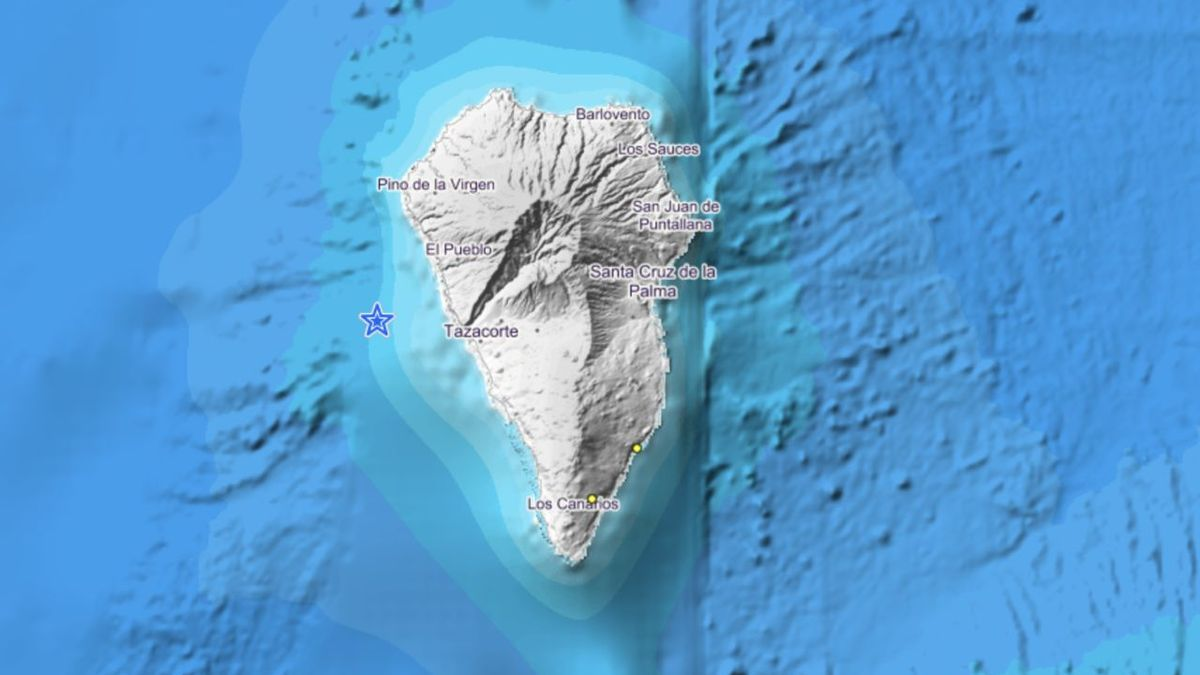 Mapa del IGN donde se indica los puntos donde han sido localizados los terremotos de baja magnitud en el entorno de La Palma entre la noche del martes y la madrugada del miércoles.