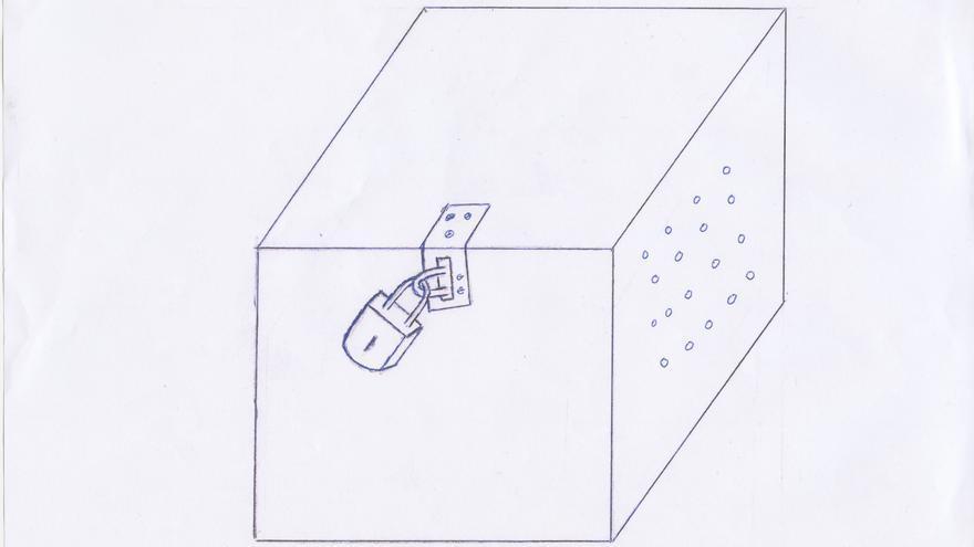 Dibujo de un detenido donde describe una de las cajas de confinamiento en Guantánamo