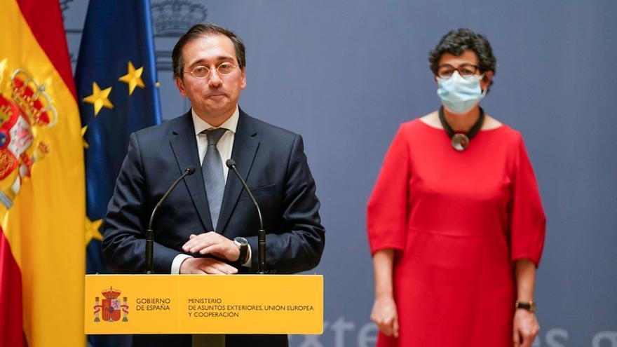El nuevo ministro de Asuntos Exteriores, Unión Europea y Cooperación, José Manuel Albares, interviene tras recibir la cartera ministerial de manos de su predecesora, Arancha González Laya el pasado 12 de julio.