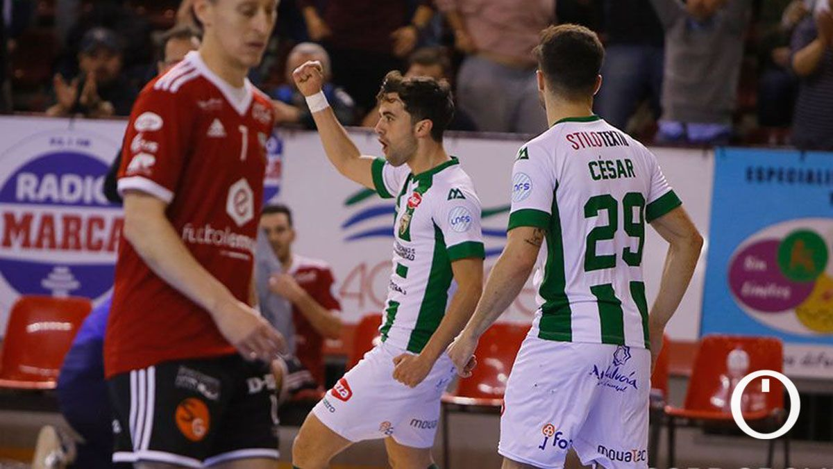 Pablo del Moral celebra un gol en Vista Alegre el pasado curso.