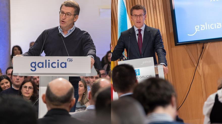 Feijóo, en un acto de partido hace escasos días (izquierda) y tras la última reunión del Consello da Xunta, con la marca corporativa a sus espaldas