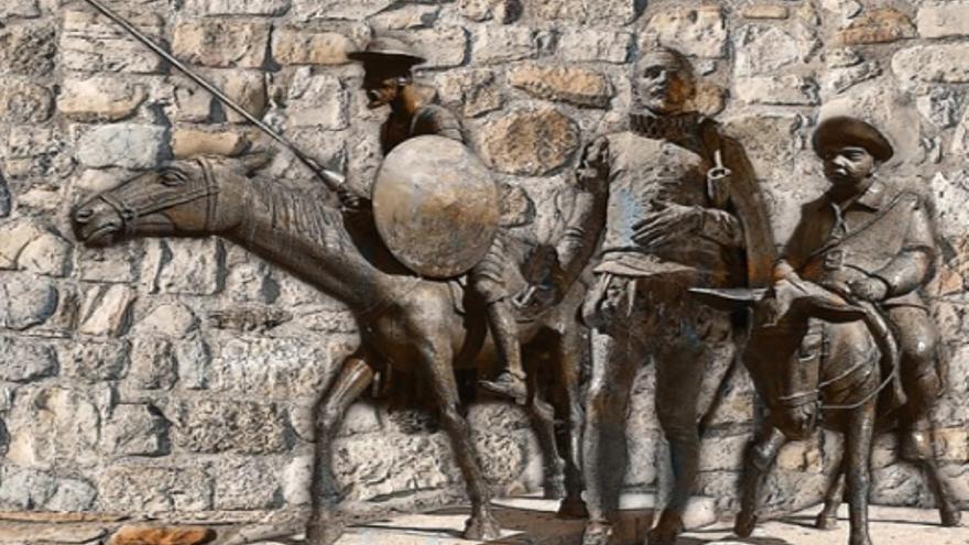 Composición de Don Quijote, Sancho y Cervantes, por Estrella Cobo