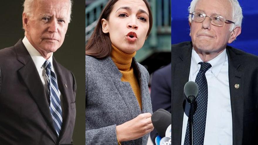 Joe Biden, Alexandria Ocasio-Cortez y Bernie Sanders