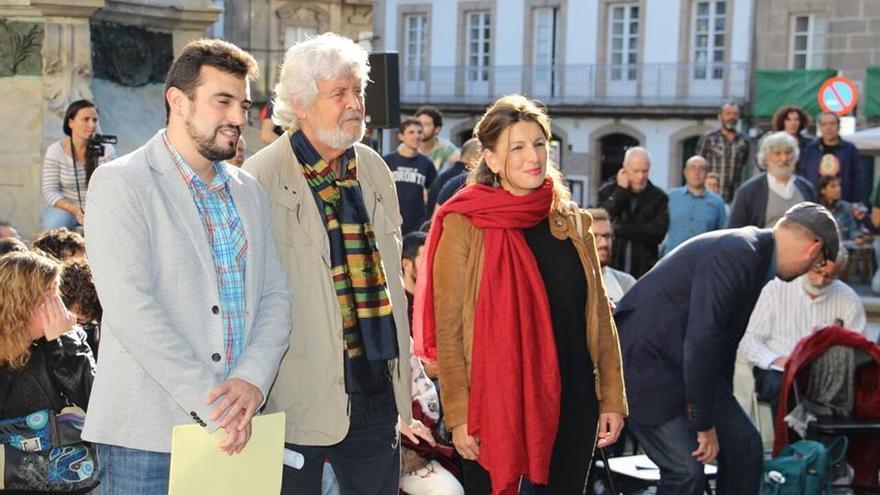 Los líderes de Podemos-Galicia, Anova y EU, en la presentación del preacuerdo