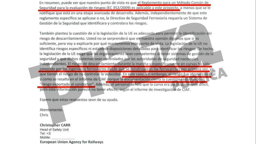 Respuesta de la Agencia Ferroviaria Europea a las víctimas de Angrois desmintiendo a Adif