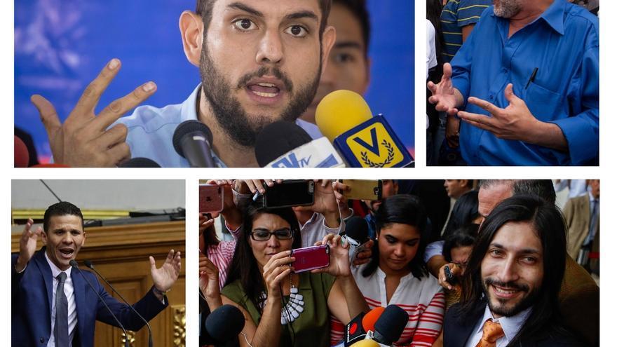 Combo de fotografías de archivo que muestra a los diputados venezolanos Juan Requesens (i-arriba), Ismael León (d-arriba), Gilber Caro (i-abajo), y Renzo Prieto (d-abajo). Fueron elegidos para ocupar un escaño pero hoy languidecen en celdas.