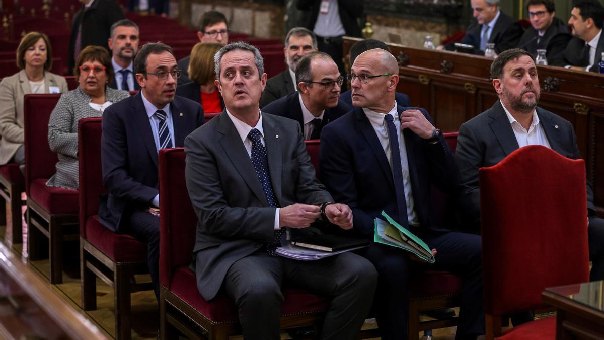 Los líderes independentistas durante el juicio del procés.