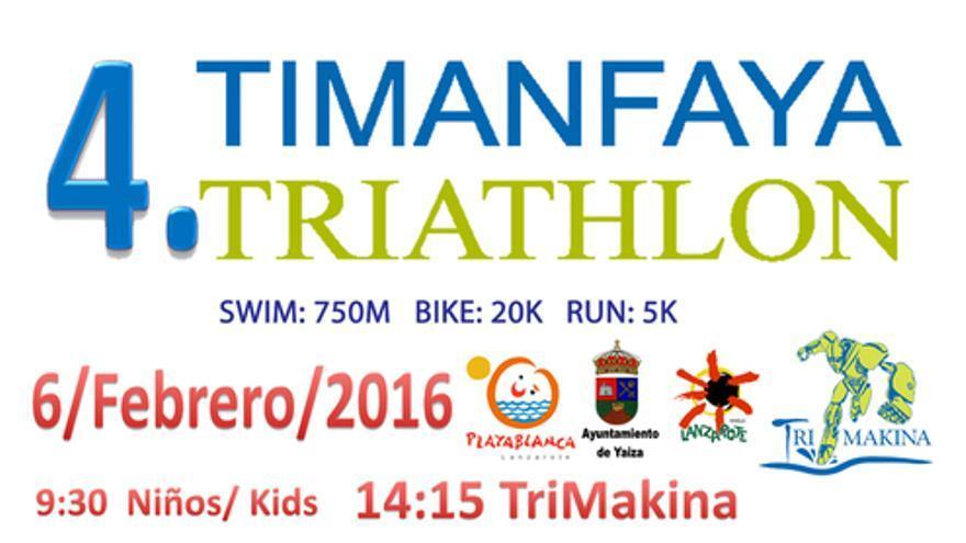 Cartel de la IV Edición del Timanfaya Triathlon.
