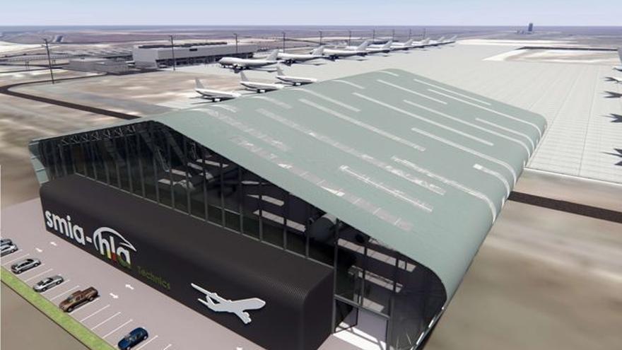 Infografía del futuro hangar para mantenimiento de aeronaves en Ciudad Real