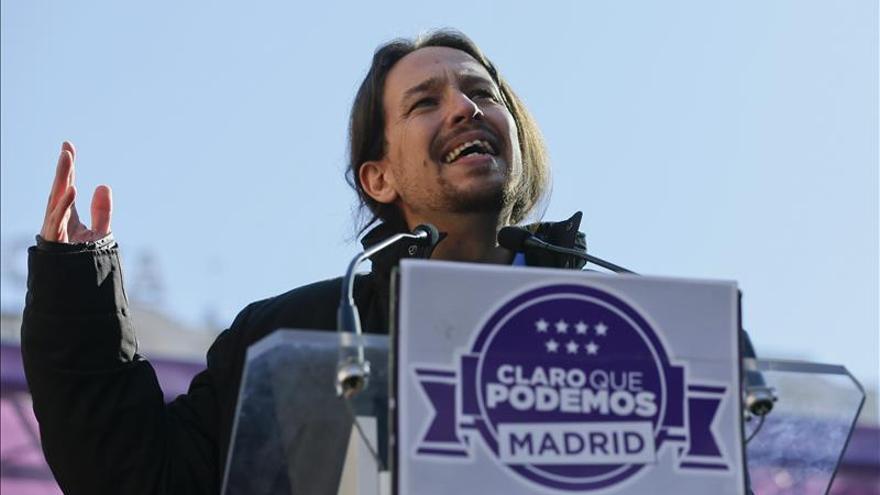 Pablo Iglesias durante el acto de cierre de campaña de Claro que Podemos en Madrid. \ Efe