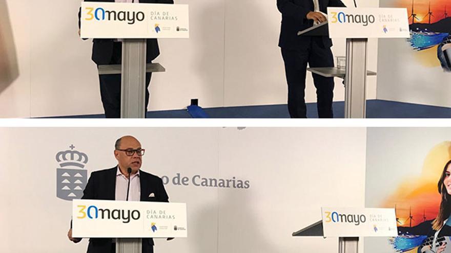 José Miguel Barragán, consejero de Presidencia, Justicia e Igualdad y Pablo Rodríguez, consejero de Obras Públicas del Gobierno de Canarias en la rueda de prensa tras el Consejo de Gobierno.