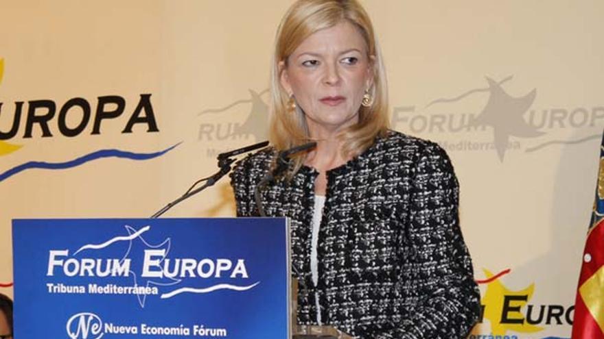 La consellera de Justicia, Gabriela Bravo, durante su intervención en el Forum Europa