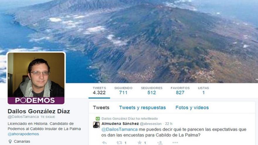 Cuenta de Twitter de Dailos González.