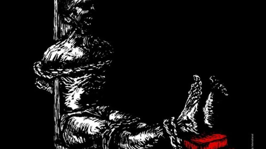 """Utensilio empleado para torturar en China según el AI. Se trata de un """"banco del tigre"""", en el que las piernas de la persona se atan con fuerza a un banco y se agregan gradualmente ladrillos bajo los pies de la víctima, obligando a llevar hacia atrás las piernas/ Amnistía Internacional - Baodiucao"""