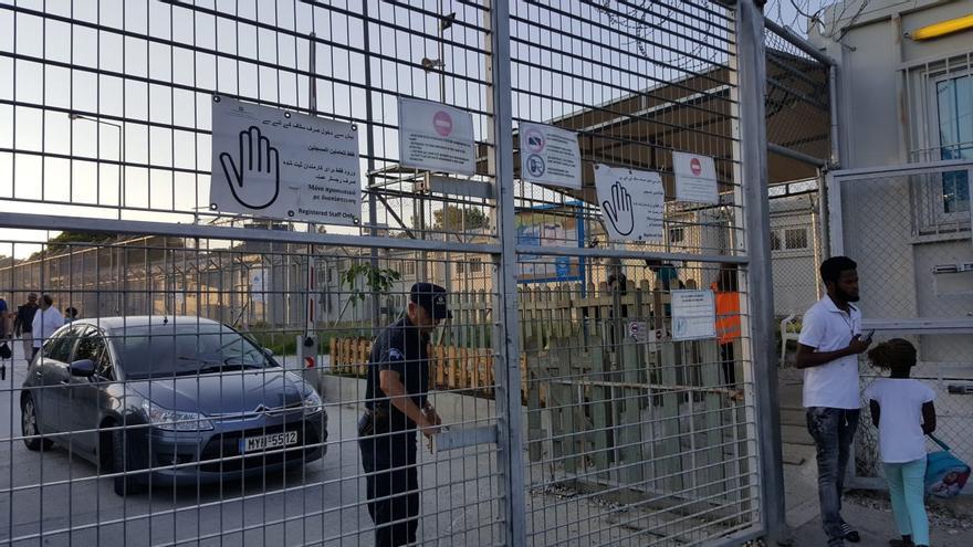 Cercado del campamento de Lesbos