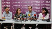 Rueda de prensa en la que Podemos anunció la reorganización de áreas.