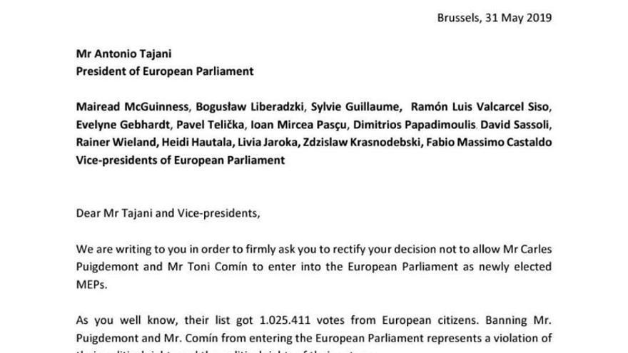 Carta de los eurodiputados a Tajani.