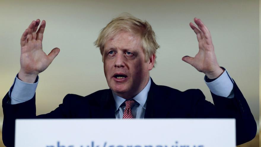 Boris Johnson en una rueda de prensa sobre el coronavirus en Londres el 12 de marzo.