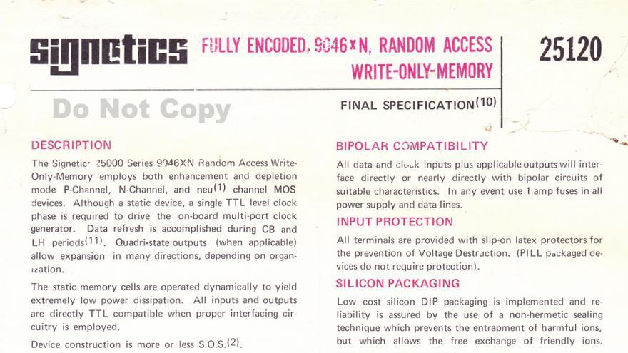 La hoja de especificaciones de la 'Write-Only Memory' de Signetics (1972)