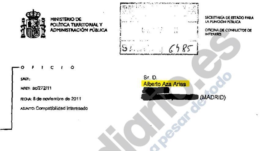Autorización de la Oficina de Conflicto de Intereses para permitir a Alberto Aza trabajar para La Caixa y Abengoa