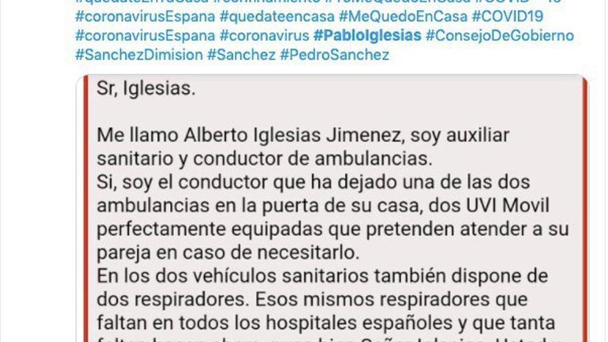 Primer mensaje que cita en Twitter el bulo sobre las UVIs móviles en la casa de Pablo Iglesias, el 14 de marzo.