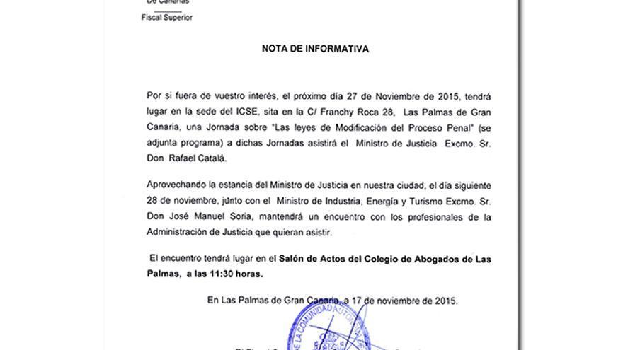 Nota del Fiscal Superior de Canarias, Vicente Garrido.