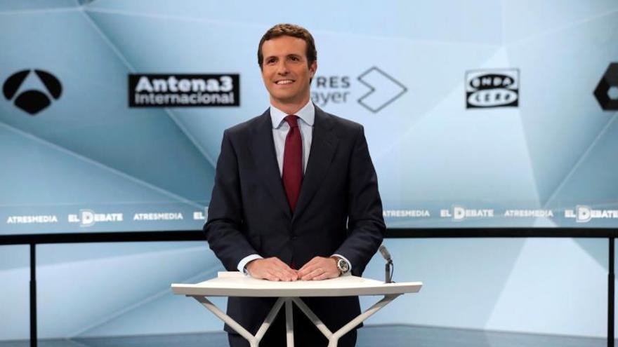 Pablo Casado en el debate electoral de Atresmedia