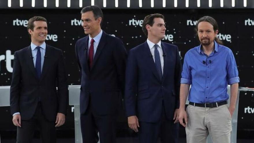 Casado, Sánchez, Rivera e Iglesias, en el debate de TVE