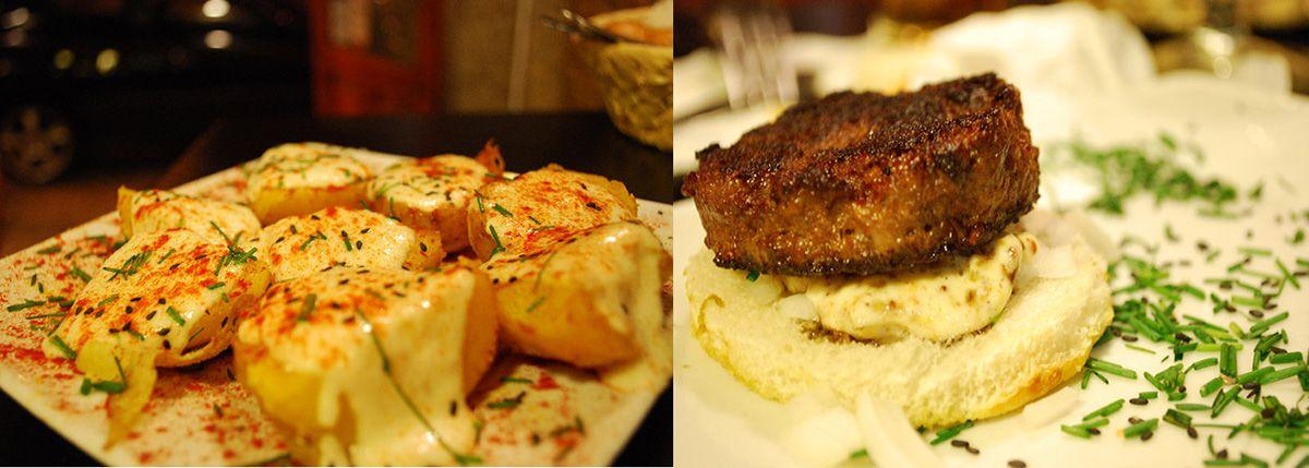 Díptico patatas alioli de pera y hamburguesa Pontepez