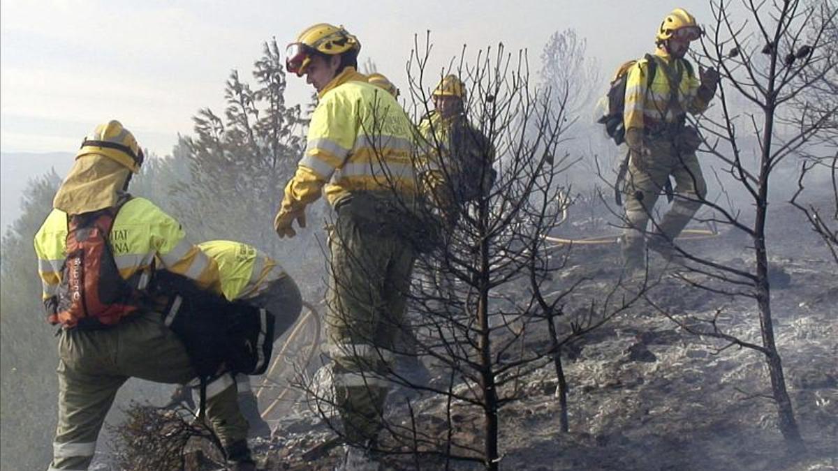 Efectivos de bomberos trabajan en la extinción de un incendio forestal en la provincia de Castellón.
