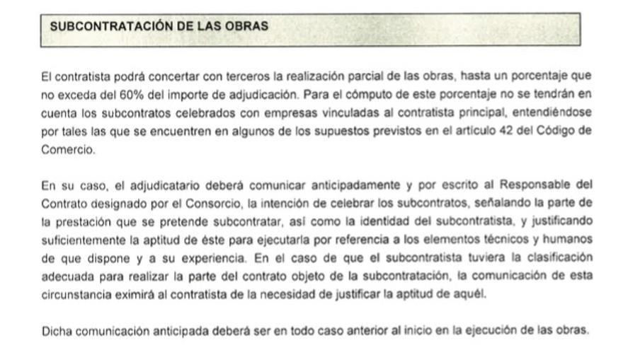Pliego de condiciones de Zona Franca en el que se regula la subcontratación
