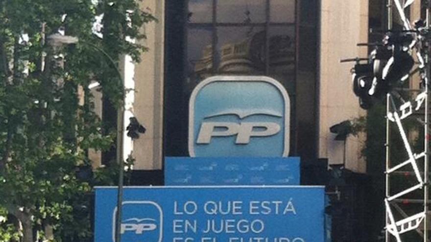 La sede del PP en Génova ya está preparada por si tiene que celebrar la victoria / Foto: L.S.