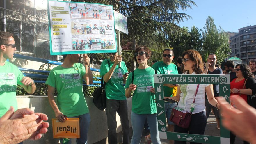 Imagen de archivo de una protesta de interinos del sector educativo en Albacete. / Marea Verde
