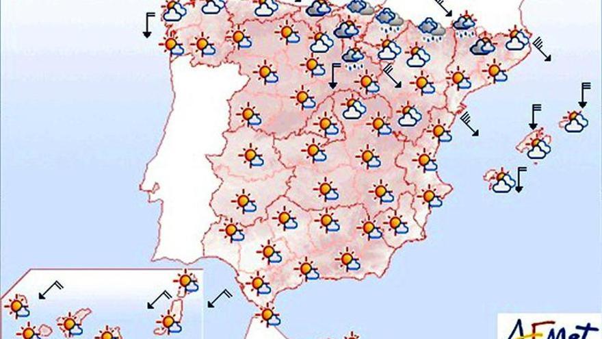 Mañana, vientos fuertes en Pirineos, Cuenca del Ebro, Girona y Baleares