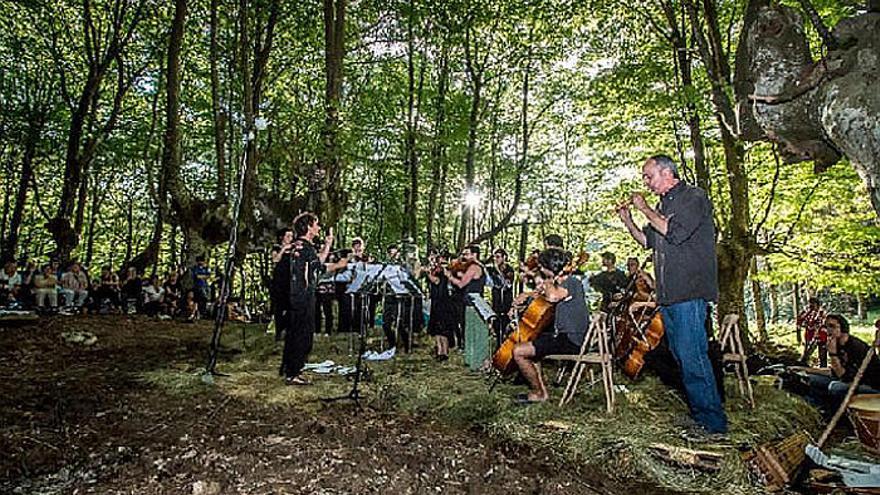 Concierto en un bosque de hayas de Urkizu, en Tolosaldea, Gipuzkoa.