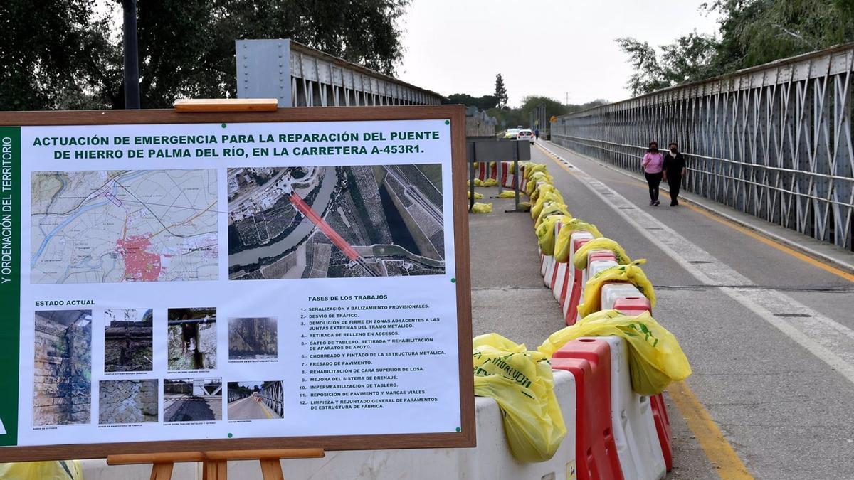 Trabajos en el Puente del Hierro de Palma del Río