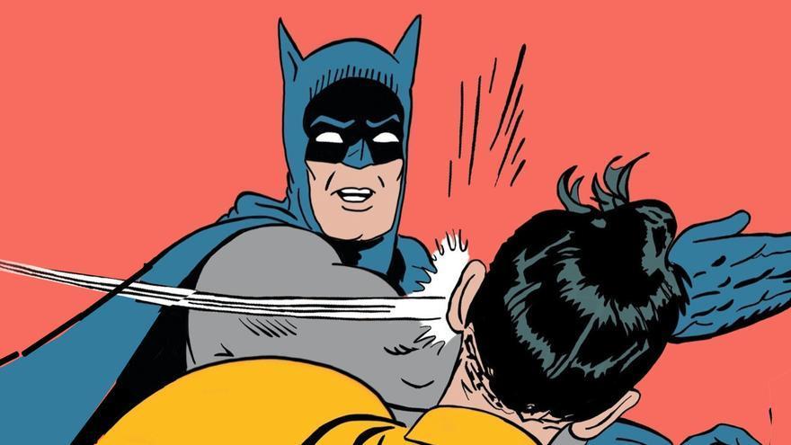 Batman abofeteando a Robin se ha convertido en uno de los memes más populares de Internet. La viñeta pertenece a las paginas de World's Finest #153 (1965).