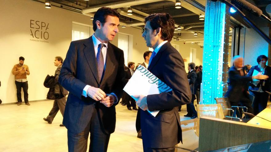 José Manuel Soria, ministro de Industria y José María Álvarez-Pallete, consejero delegado de Telefónica