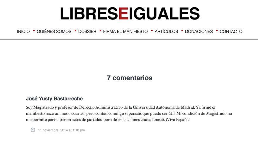 Comentario del magistrado Yusty Bastarreche en Libres e Iguales